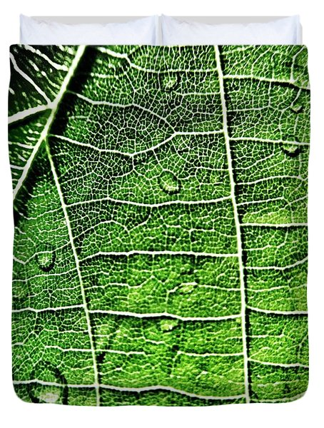 Leaf Abstract - Macro Photography Duvet Cover by Marianna Mills