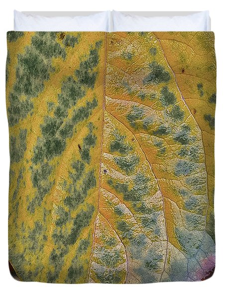Duvet Cover featuring the photograph Leaf After Rain by Bill Owen