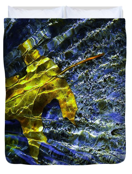 Leaf In Creek - Blue Abstract Duvet Cover