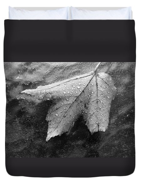 Leaf On Glass Duvet Cover