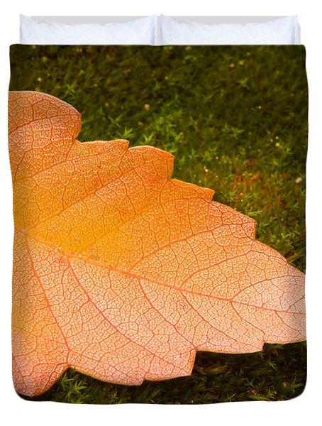 Leaf On Moss Duvet Cover by Adam Romanowicz