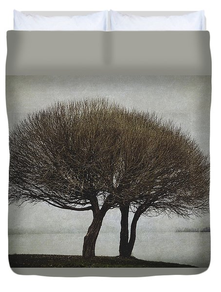 Duvet Cover featuring the photograph Leafless Couple by Ari Salmela