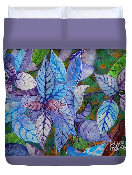 Leafy Blues Duvet Cover by Caroline Street