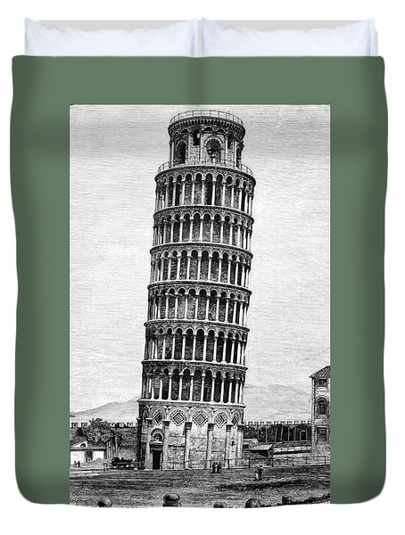 Leaning Tower Of Pisa 1870 Drawing Duvet Cover