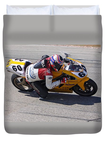 Duvet Cover featuring the pyrography Leaning Into Speed by Shoal Hollingsworth