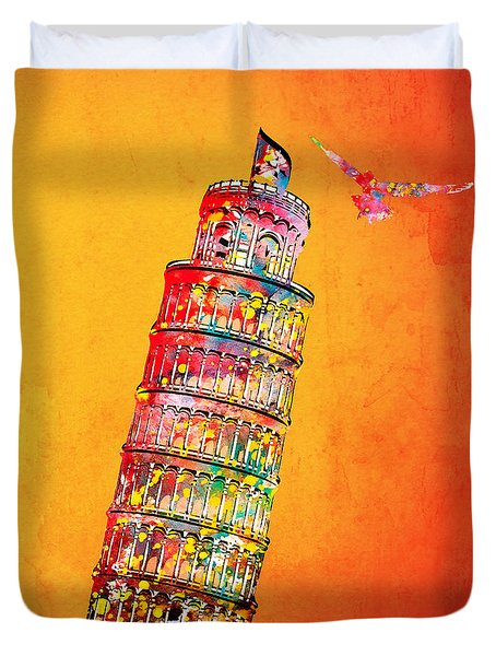 Leaning Tower Duvet Cover by Mark Ashkenazi