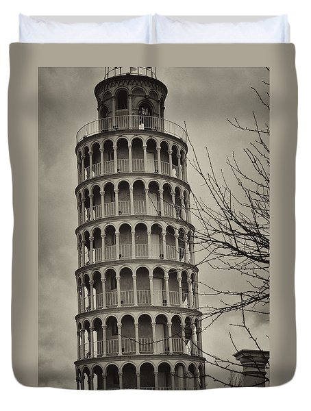 Duvet Cover featuring the photograph Leaning Tower by Miguel Winterpacht