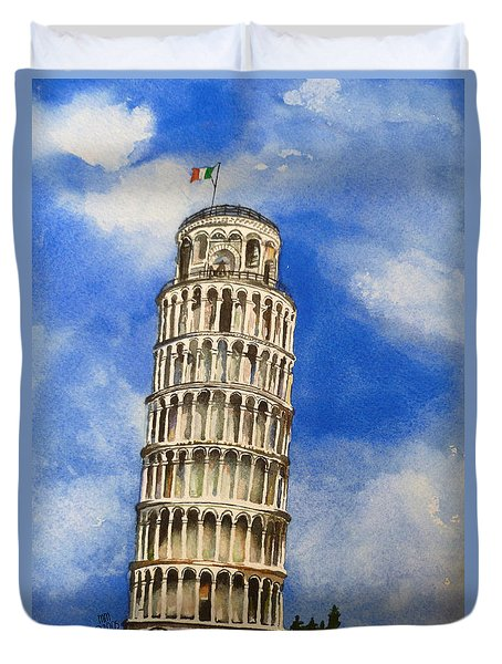 Leaning Tower Of Pisa Duvet Cover