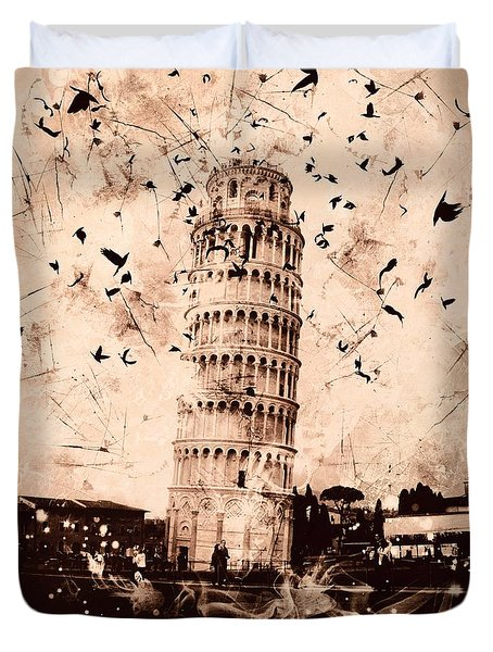 Leaning Tower Of Pisa Sepia Duvet Cover
