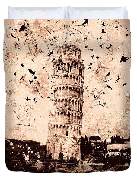 Leaning Tower Of Pisa Sepia Duvet Cover