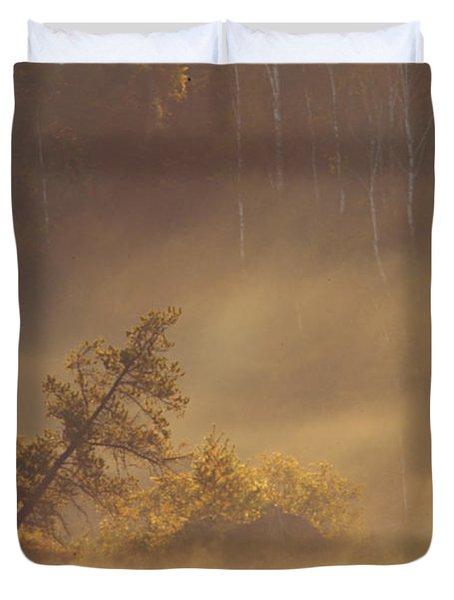 Leaning Tree In Swirling Fog Duvet Cover by Larry Ricker