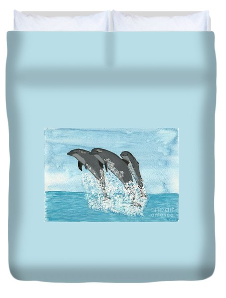 Duvet Cover featuring the painting Leaping Dolphins by Tracey Williams