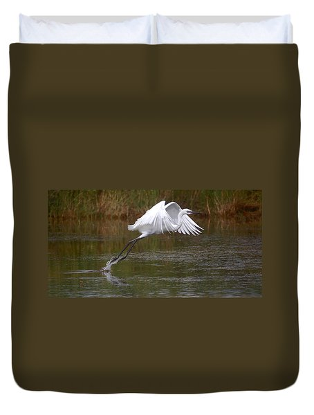 Leaping Egret Duvet Cover by Leticia Latocki