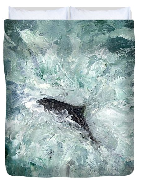 Leaping Salmon Duvet Cover by Carol Rowland