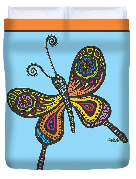 Duvet Cover featuring the drawing Learning To Fly by Tanielle Childers