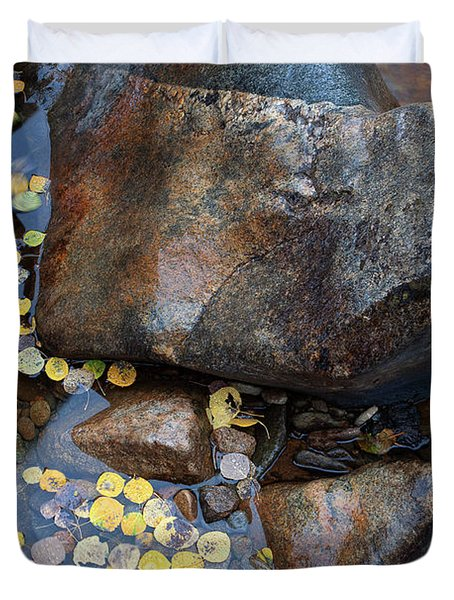Leaves In A Stream Duvet Cover by Jim Garrison