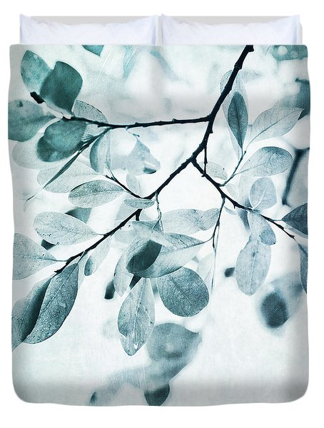 Leaves In Dusty Blue Duvet Cover