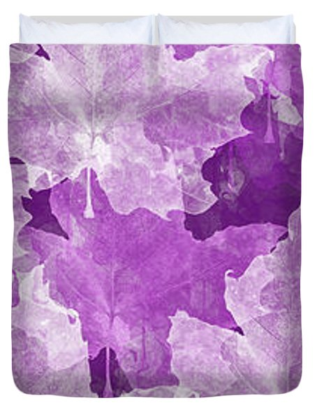Leaves In Radiant Orchid Panorama Duvet Cover by Andee Design