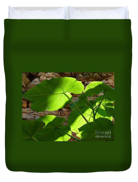 Leaves In Shadow Duvet Cover
