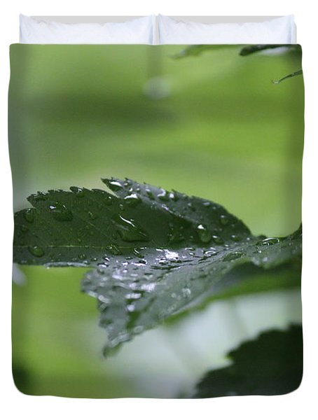 Leaves In The Rain Duvet Cover