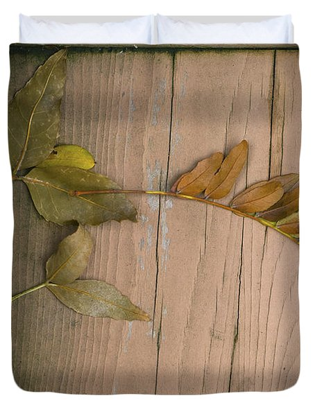 Leaves On A Wooden Step Duvet Cover
