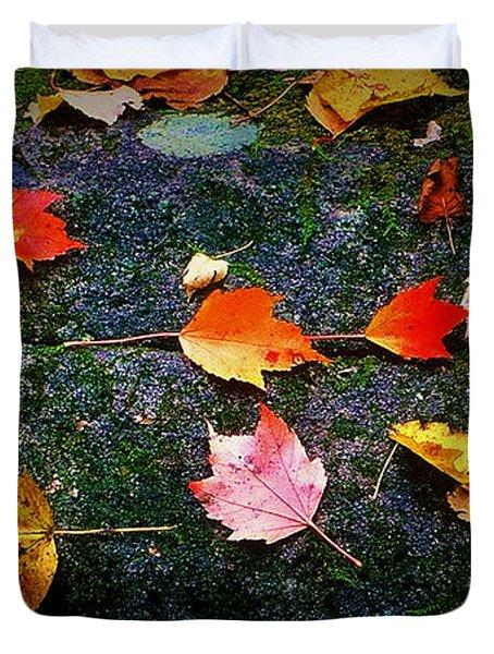 Leaves On Rock  Duvet Cover