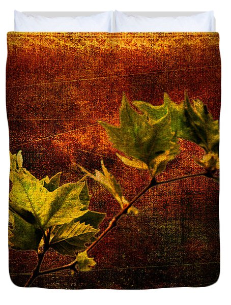 Leaves On Texture Duvet Cover