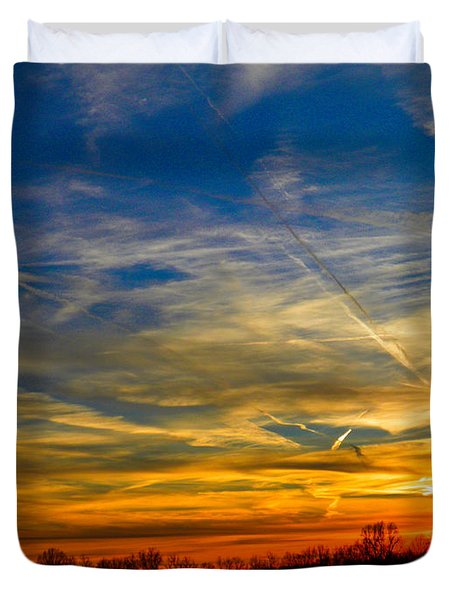 Leavin On A Jetplane Sunset Duvet Cover by Nick Kirby