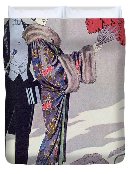 Leaving For The Casino Duvet Cover by Georges Barbier