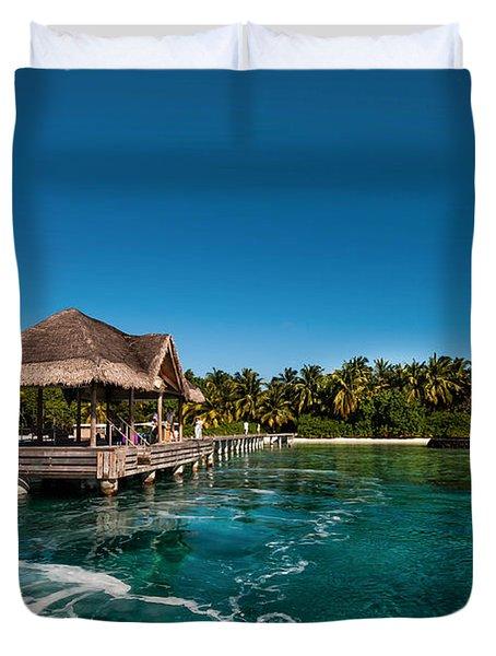 Leaving Kuramathi Resort. Maldives Duvet Cover by Jenny Rainbow