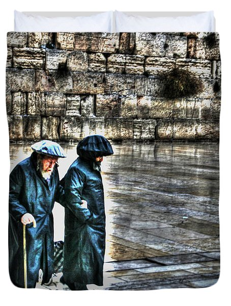 Duvet Cover featuring the photograph Leaving The Western Wall In Israel by Doc Braham