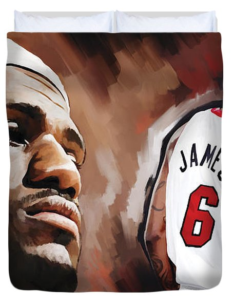 Lebron James Artwork 2 Duvet Cover by Sheraz A