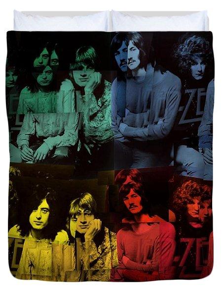 Led Zeppelin Pop Art Collage Duvet Cover