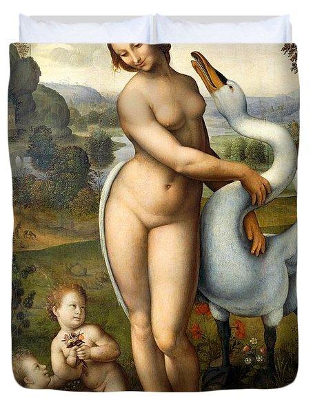 Leda And Swan Duvet Cover by Leonardo Da Vinci