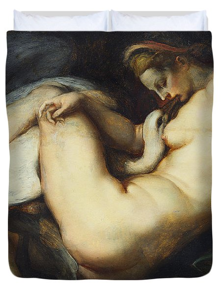 Leda And The Swan Duvet Cover by Rubens
