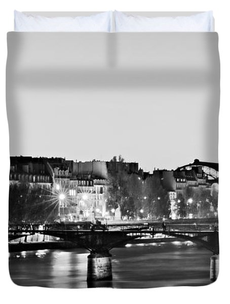 Duvet Cover featuring the photograph Left Bank At Night / Paris by Barry O Carroll