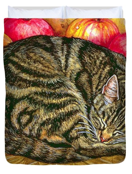 Left Hand Apple Cat Duvet Cover