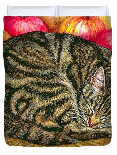 Left Hand Apple Cat Duvet Cover by Ditz