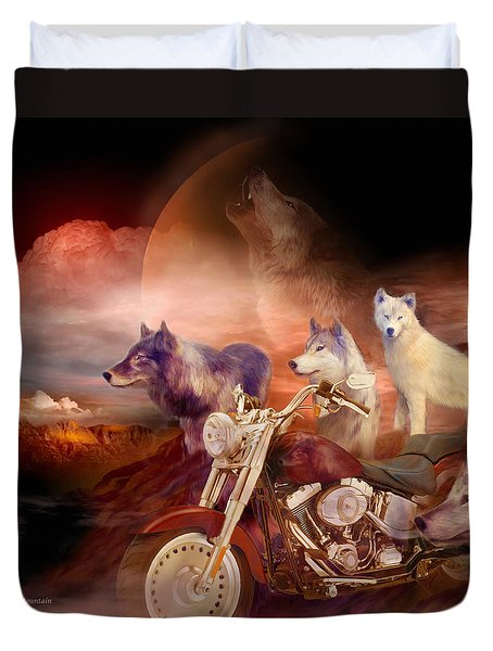 Legend Of Wolf Mountain Duvet Cover by Carol Cavalaris