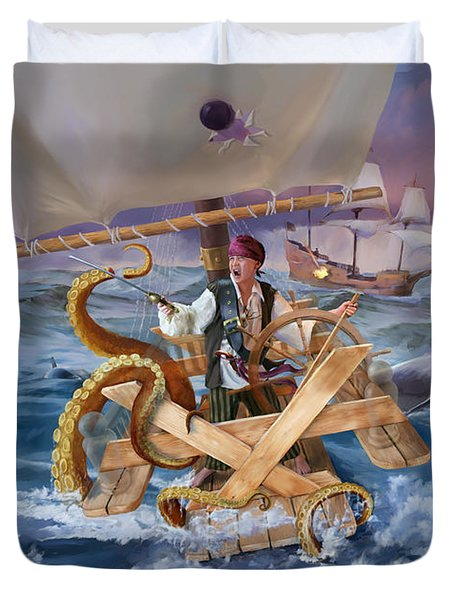 Duvet Cover featuring the painting Legendary Pirate by Rob Corsetti