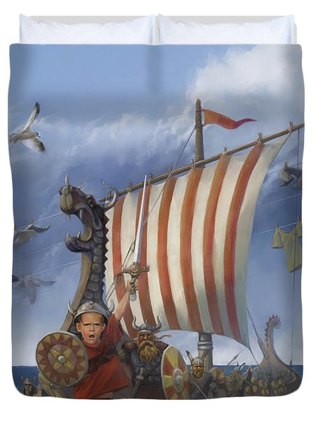 Duvet Cover featuring the painting Legendary Viking by Rob Corsetti