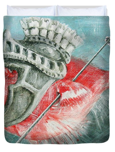 Duvet Cover featuring the painting Legionnaire Fish by Marina Gnetetsky