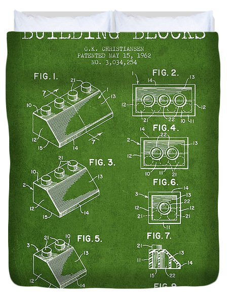 Lego Toy Building Blocks Patent - Green Duvet Cover by Aged Pixel