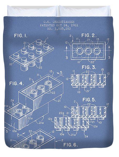Lego Toy Building Brick Patent - Light Blue Duvet Cover by Aged Pixel