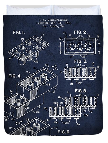 Lego Toy Building Brick Patent - Navy Blue Duvet Cover by Aged Pixel