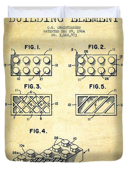 Lego Toy Building Element Patent - Vintage Duvet Cover by Aged Pixel