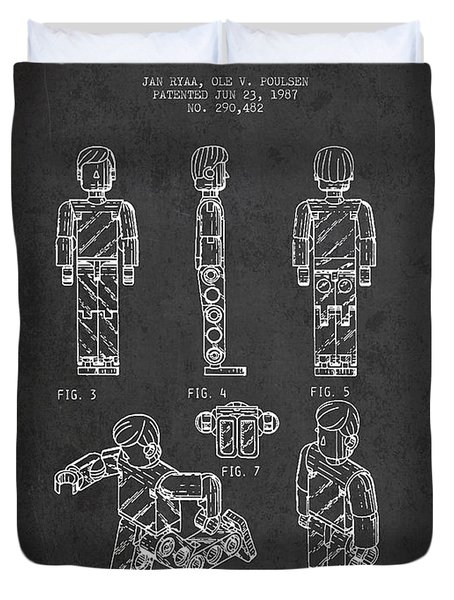Lego Toy Figure Patent - Dark Duvet Cover by Aged Pixel