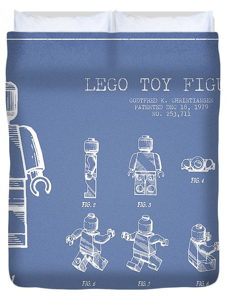 Lego Toy Figure Patent Drawing From 1979 - Light Blue Duvet Cover by Aged Pixel