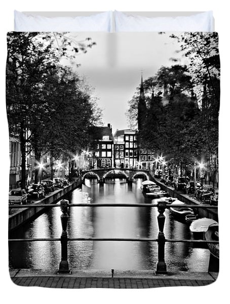 Duvet Cover featuring the photograph Leidsegracht Canal At Night / Amsterdam by Barry O Carroll