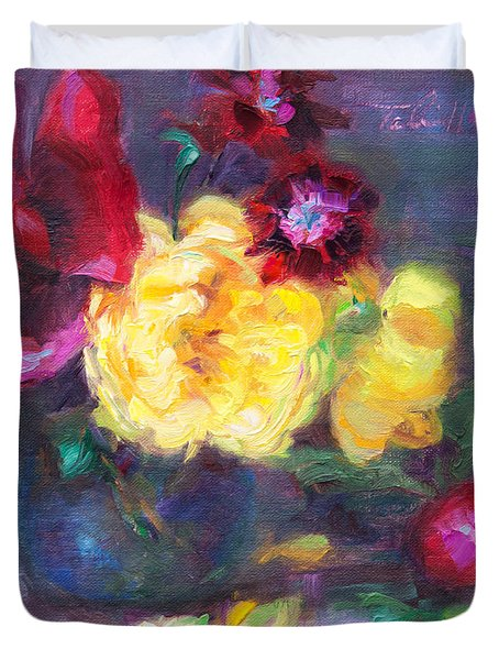 Lemon And Magenta - Flowers And Radish Duvet Cover